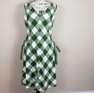 Talbots Green & White Cotton Plaid Dress - Size 12